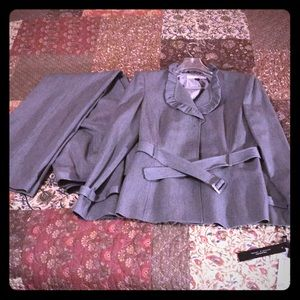 Tahari grey pants suit.